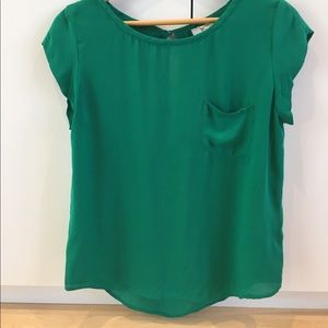 Joie Green One-Pocket Scoop Neck Blouse
